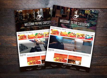 Cafe Store Advertising Flyer Template, 08436, Food & Beverage — PoweredTemplate.com