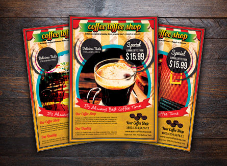 Food & Beverage: Retro Stijl Koffiewinkel Flyer Template #08445