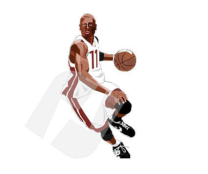 Sports: Basketball Player Vector Clip Art #00085
