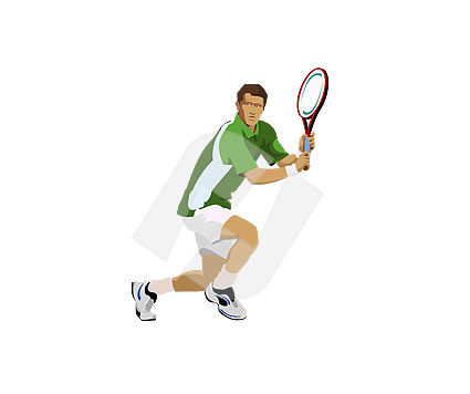 Sports: Tennis player Vector Clip Art #00098