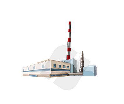 Power Plant Vector Clip Art, 00102, Industry Essentials — PoweredTemplate.com