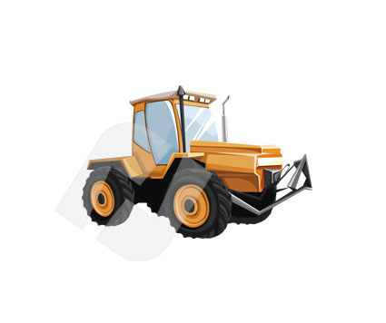 Wheeled Tractor Vector Clip Art, 00105, Industry Essentials — PoweredTemplate.com