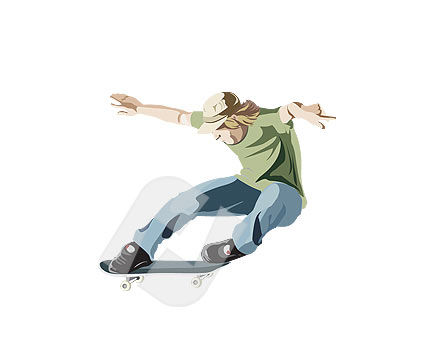 People: Skater Vector Clip Art #00116