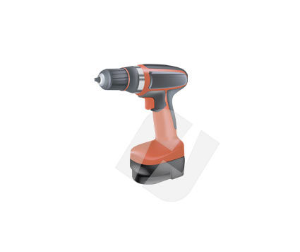 Objects and Equipment: Electric Drill Vector Clip Art #00142