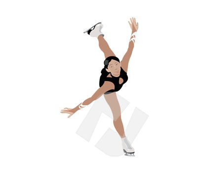 Figure Skater Vector Clip Art, 00157, Sports — PoweredTemplate.com