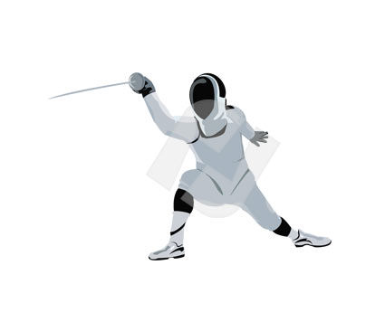 Sports: Fencer Vector Clip Art #00158