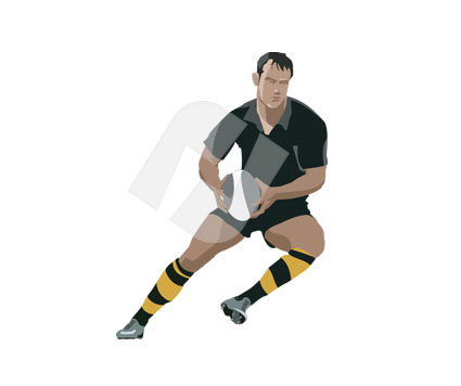 Sports: Rugby Player Vector Clip Art #00160