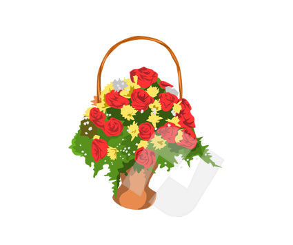 Agriculture: Basket of Flowers Vector Clip Art #00163
