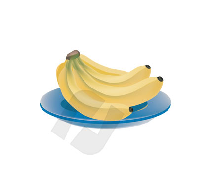 Banana on Plate Vector Clip Art, 00169, Food & Beverage — PoweredTemplate.com