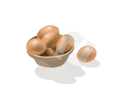 Plate of Eggs Vector Clip Art