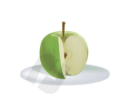 Food & Beverage: Green Apple Vector Clip Art #00177