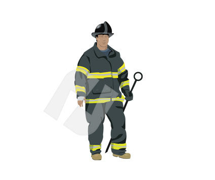People: Fireman Vector Clip Art #00181