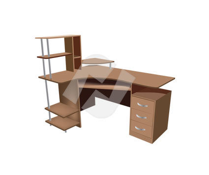 Computer Desk  Vector Clip Art, 00186, Objects and Equipment — PoweredTemplate.com