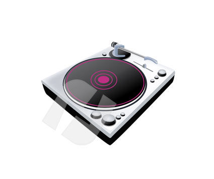 Consumer Electronics: Vinyl Disk Player Vector Clip Art #00191