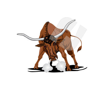 Animals and Pets: Lonhorn Vector Clip Art #00237