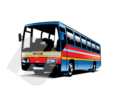 Bus Vector Clip Art, 00245, Industry Essentials — PoweredTemplate.com