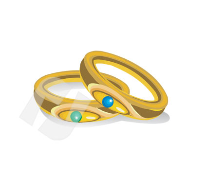 Holiday/Special Occasion: Wedding Rings Vector Clip Art #00264