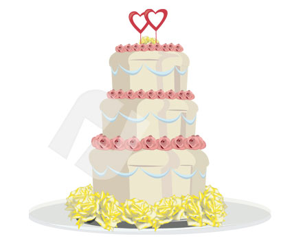 Holiday/Special Occasion: Wedding Cake Vector Clip Art #00285