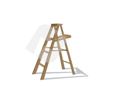 Objects and Equipment: Step Ladder Vector Clip Art #00325