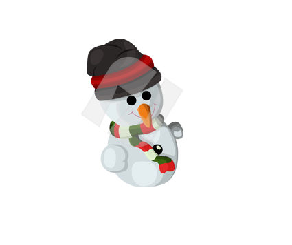Holiday/Special Occasion: Snowman With Hat Vector Clip Art #00369