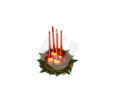 Holiday/Special Occasion: Clipart de bougies de noël #00373