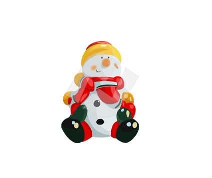 Holiday/Special Occasion: Sitting Snowman Vector Clip Art #00375
