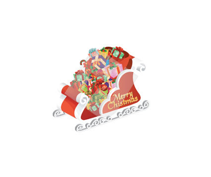Holiday/Special Occasion: Santa Sledge Vector Clip Art #00376