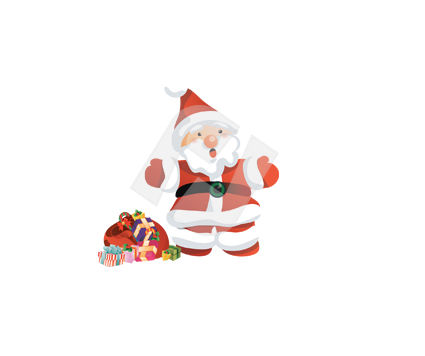 Holiday/Special Occasion: Santa Claus With Sack Of Presents Vector Clip Art #00377