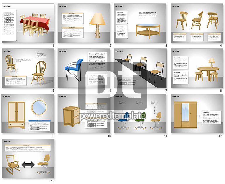 furniture shapes collection for powerpoint presentations