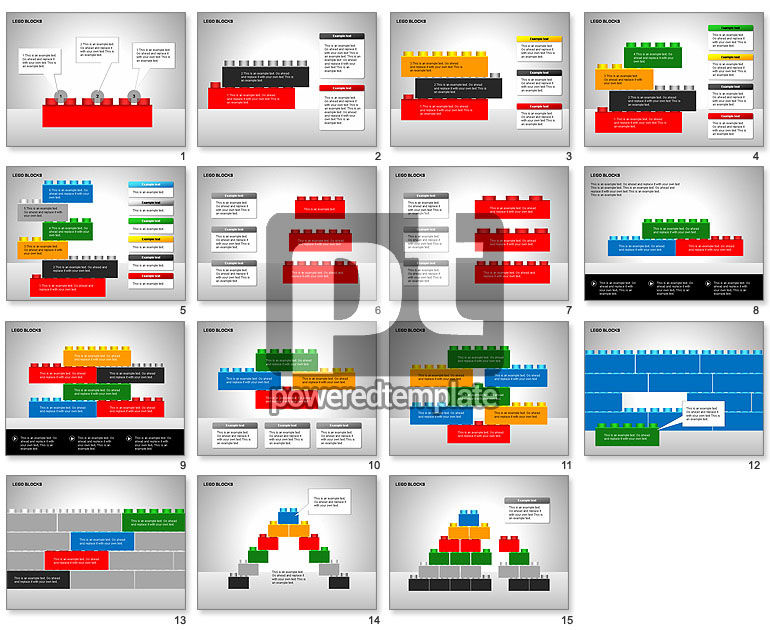 lego blocks diagrams for powerpoint presentations