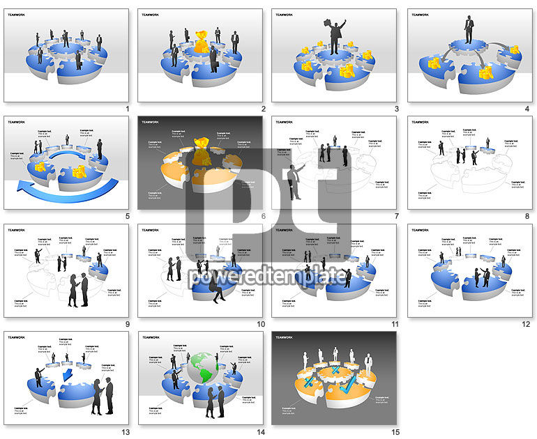 Teamwork Puzzle Donut Diagrams