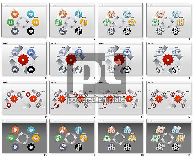 Cuadro de herramientas del proceso con engranajes
