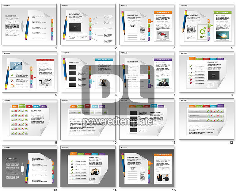 Notepad with Bookmarks Shapes and Diagrams