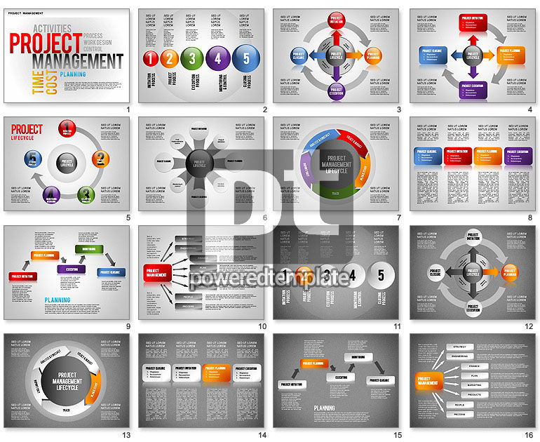 project management diagram set for powerpoint