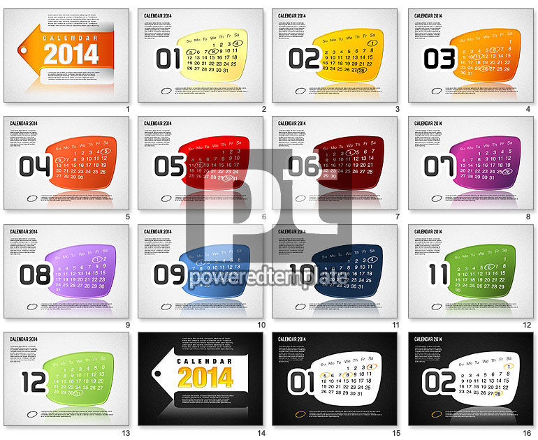 Calendar 2014 For Powerpoint Presentations, Download Now 01492