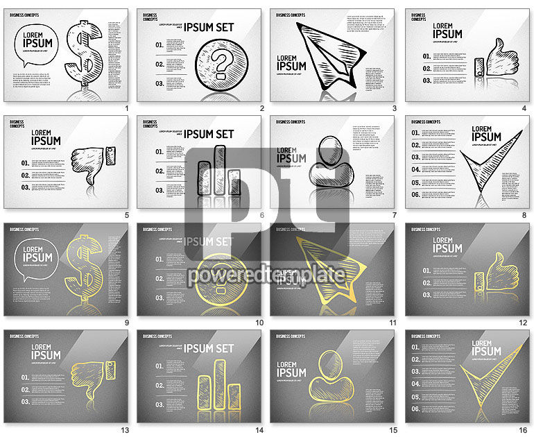 Sketch Style Business Shapes Set