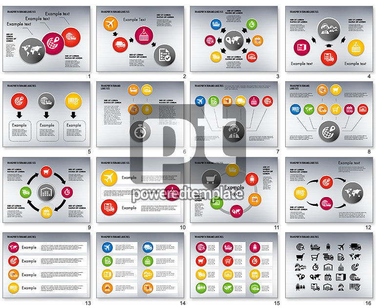 Transportation and Logistics Process with Icons