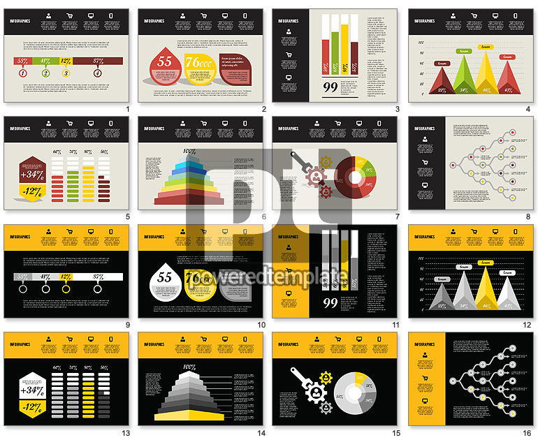 Flat Design Infographics For Powerpoint Presentations