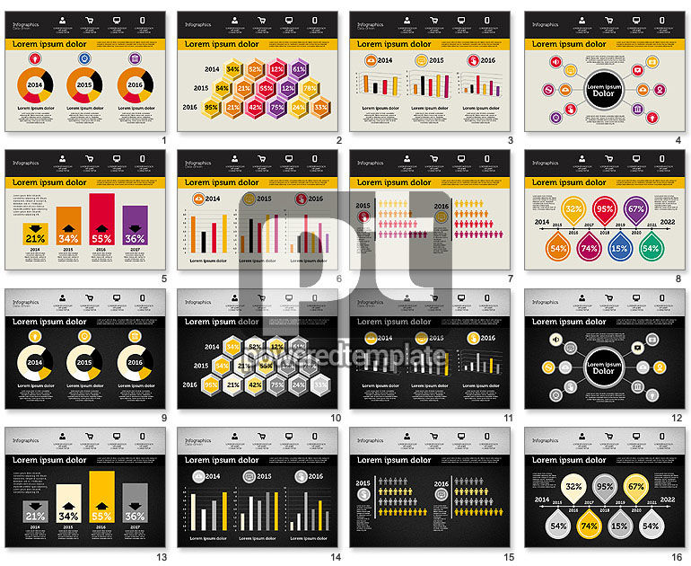 Presentation with Inforgraphics in Flat Design