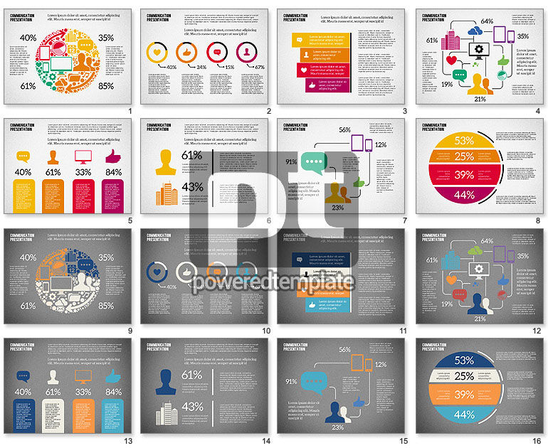 Presentation Template with Flat Shapes