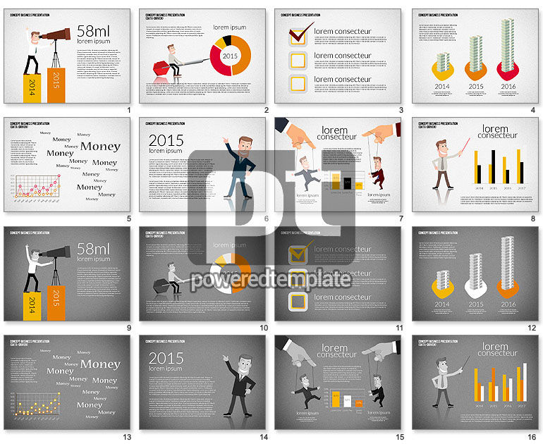 Business Presentation Template Concept with Character
