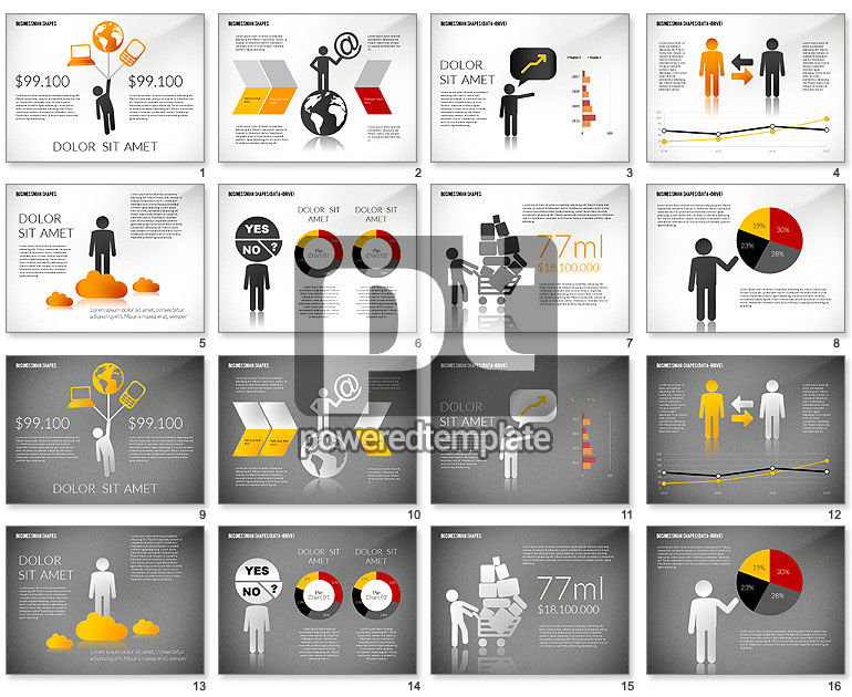 Presentation Template with Shapes and Silhouettes