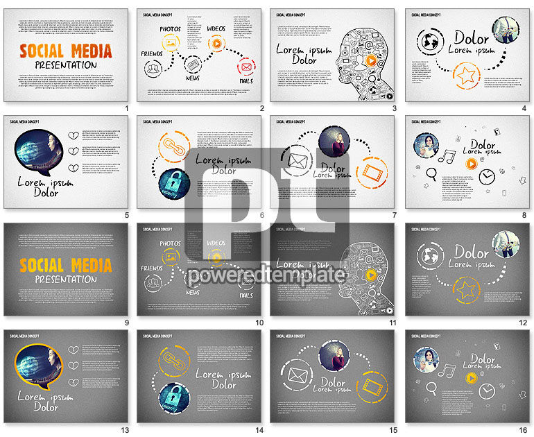 Social Media Presentation with Icons