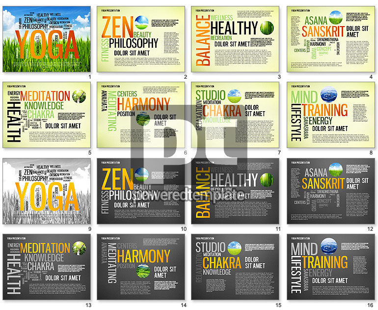 yoga word cloud presentation template for powerpoint presentations, Presentation templates
