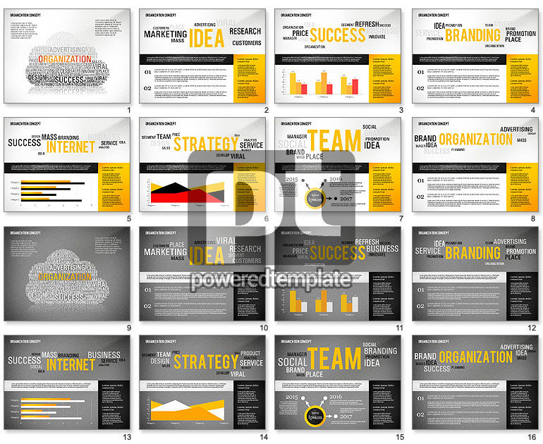 Organization Presentation Template with Data Driven Charts