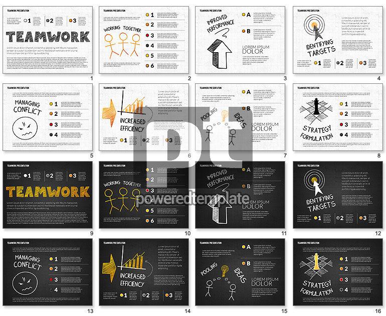 Teamwork Presentation in Chalkboard Style for PowerPoint ...