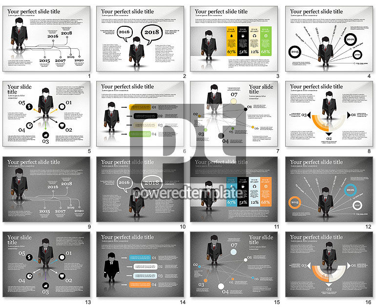 Pitch Deck Presentation with Businessman Silhouette