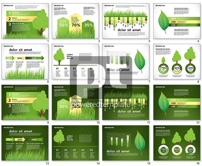 Green Presentation with Data Driven Charts