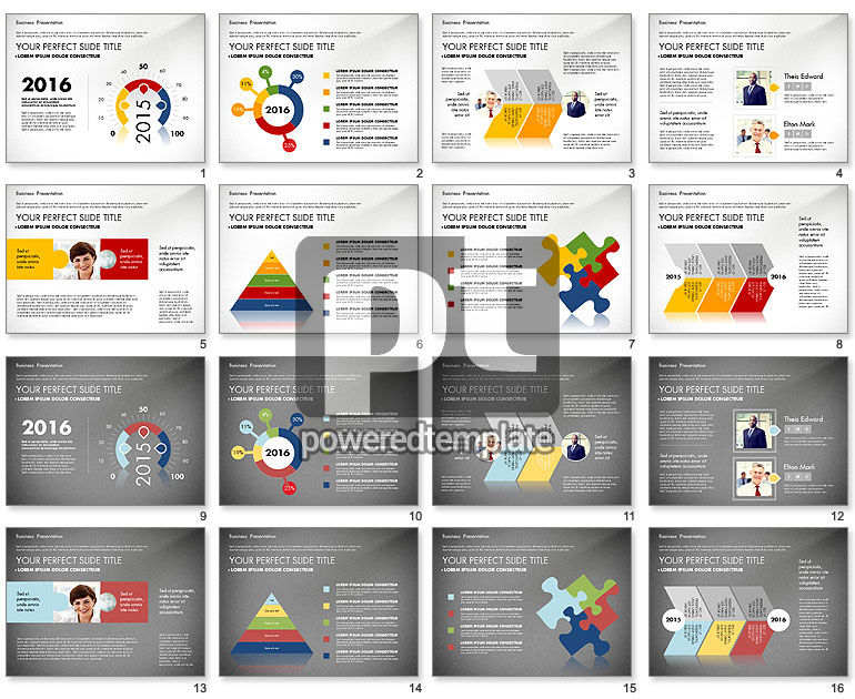 Business Presentation with Flat Designed Charts
