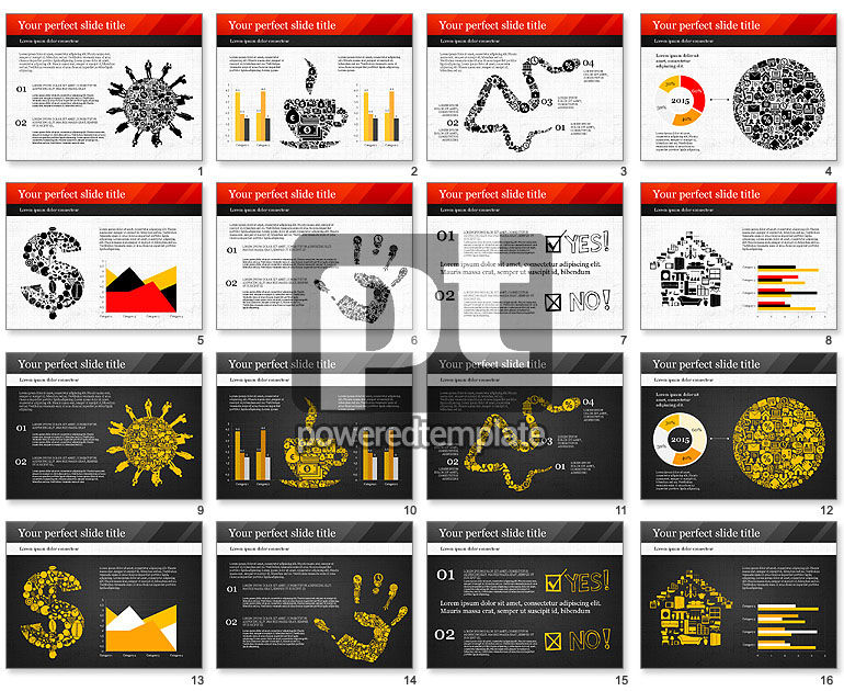 Presentation with Icons and Silhouettes